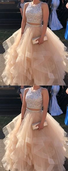 Prom Dresses Ball Gown, Sparkly Sequins Beaded Organza Layered Ball Gowns Prom Dresses Two Piece SantaFe Bridal Sparkly Pailletten Perlen Prom Dresses For Teens, Cute Prom Dresses, Trendy Dresses, Homecoming Dresses, Sexy Dresses, Formal Dresses, Party Dresses, Elegant Dresses, Dress Party