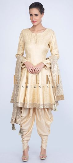 7a1daf36cd1 We ship worldwide (Free Shipping over US$100) Click Anywhere to Tag Cream- brocade-short-anarkali-with-cotton-dhoti-and-net-dupatta-only-on-kalki