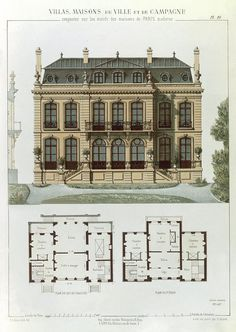 French Drawing - Parisian Suburban House And Plans by Leon Isabey