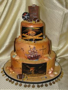 Groovy 16 Best Pirates Of The Caribbean Cakes Images Pirates Of The Funny Birthday Cards Online Aeocydamsfinfo