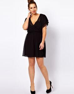 Skater Dress With 70's Ruffle Sleeve from ASOS Curve.  Plus size.