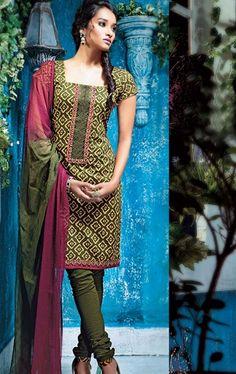 Picture of Delightful Green Color PartyWear Churidar Kameez