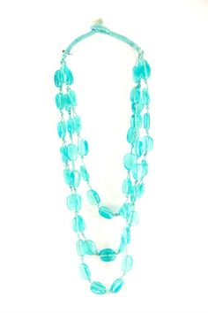 Turquoise Glass Threaded Necklace, $25.00