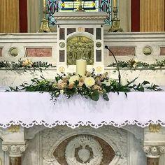Delicate blush and ivory at St Columbas Church in Douglas #corkwedding #churchflowers #weddingflowers #churchwedding #altararrangement #unitycandle #irishwedding #irishflorist #bloomsdayflowers