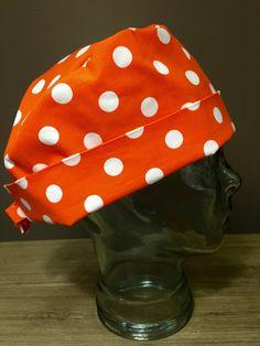 Orange Polka Dot Surgical Scrub Hat, Women's Halloween Pixie Scrub Hat, Custom…