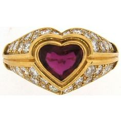 Pre-owned Bvlgari Yellow Gold Diamond & Ruby Vintage Ring ($13,050) ❤ liked on Polyvore featuring jewelry, rings, gold heart ring, heart diamond ring, 18k diamond ring, round diamond ring and ruby ring