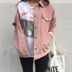 Loose Casual Corduroy Jacket in Pink