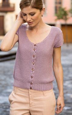 Strikkeopskrift på fin bluse med lille ærme | Strik med feminine detaljer | Strikket sommertop |Fin kombination af teknik og farve | Håndarbejde