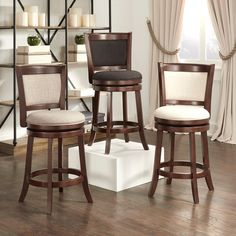 TRIBECCA HOME Verona Panel Back Linen Swivel 24-inch Counter Height Stool