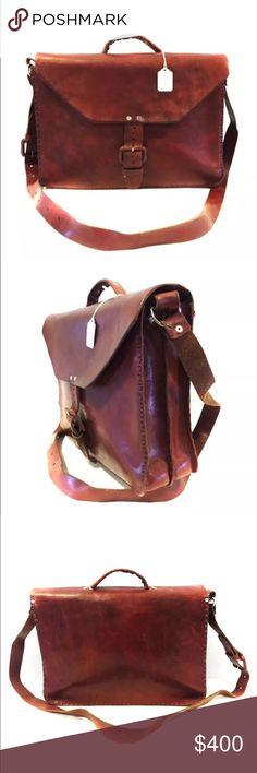 """Vintage 100% Cowhide Leather Satchel Briefcase 14"""" Vintage Preowned 100% genuine cowhide full grain leather satchel briefcase messenger bag. Unlined. Very thick and durable. Will last a lifetime. 14""""W X 10""""H X 3""""D. Will consider all reasonable offers. Bags Briefcases"""