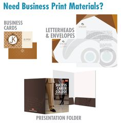 Fundraising Business Products- Business Cards, Letterheads/Envelopes, Presentation Folder Career College, Presentation Folder, Letterhead, Printed Materials, Fundraising, Business Cards, Envelope, Crafty, Inspiration