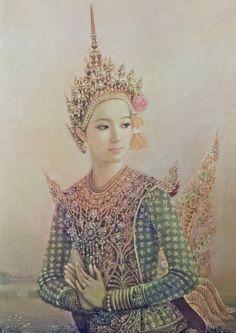 """Kinnari"", 1983, oil on canvas, by a Thai national artist Chakrabhand Posayakrit"