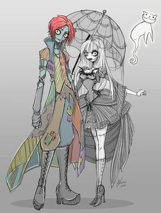 This needs to be turned into a cosplay! Tim Burton genderbent Jack Skellington and Sally from The Nightmare Before Christmas.