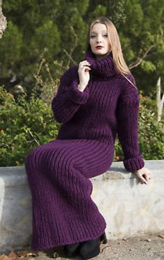 Warm Outfits, Sweater Outfits, Cool Outfits, Fashion Outfits, Purple Sweater Dress, Knit Dress, Women's Sweaters, Sweaters For Women, Extreme Knitting