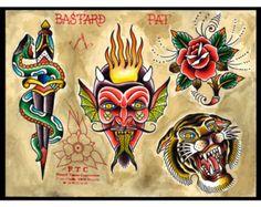 """Tattoo Flash """"BURNINGEVIL"""" PAT BASTARD"""
