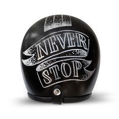 Never Stop.  Helmet graphics