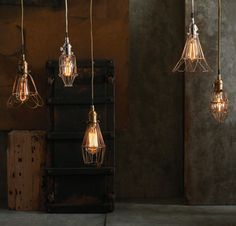 Vintage wire cage lamps