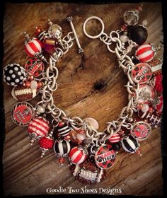Football Mom Charm Bracelet Football Jewelry by mygoodie2shoes, $84.00