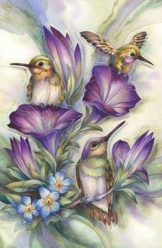 Sweet Little Hummingbirds with Purple Flowers Diamond Painting Kit. by OurCraftAddictions Silk Painting, Painting & Drawing, Painting Flowers, Art Colibri, Friendship Art, Watercolor Paintings, Original Paintings, Colorful Paintings, Art Carte
