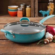 "Pioneer Woman Vintage Speckle Turquoise Jumbo Cooker 12"" Non Stick Easy Prep New #ThePioneerWoman"