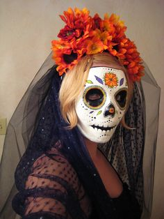 sugar skull costume flowers with veil attached. white veil with red and green flowers??- Google Search