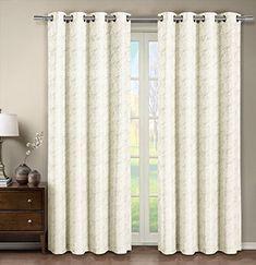 Tabitha Off-White / Ivory Grommet Jacquard Window Curtain Panel, 1 Single Panel, 54x108 inches, by Royal Hotel Royal Hotel http://www.amazon.com/dp/B0128JB7KC/ref=cm_sw_r_pi_dp_p1wRwb17QEDDP