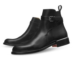 Him - Ankle Boots Hermes men's low boot in black smooth calfskin, inox plated Albion buckle, brushed palladium Galva spur - mens fashion shoes, mens running shoes, mens oxford shoes Ankle Boots, Mens Shoes Boots, Mens Boots Fashion, Low Boots, Men's Shoes, Burberry Men, Gucci Men, Versace Men, Grunge Style
