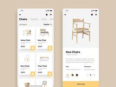 Furnitures E-Commerce Mobile App UI Design by UI Place on Dribbble Mobile Web Design, App Ui Design, User Interface Design, Design Design, Design Trends, App Design Inspiration, Ui Kit, Application Ui Design, Projets Raspberry Pi