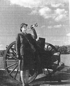 Donna Mae Baldenecker, first WAAC bugler, Fort Des Moines, Iowa ~
