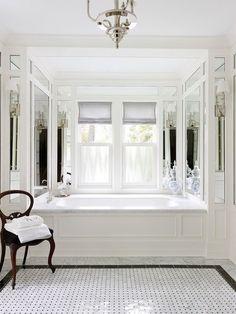 Black And White Bathroom Design Ideas With Victorian Style Dream Bathrooms, Beautiful Bathrooms, White Bathrooms, Tiled Bathrooms, Luxury Bathrooms, Concrete Bathroom, Concrete Counter, Master Bathrooms, Bathroom Renos