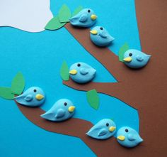 Edible royal icing bluebirds Handmade cake decorations and cupcake toppers by SweetSarahsBoutique