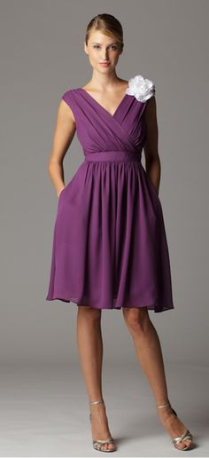 Gathered sleeveless surplice bridesmaid dress with built in waistband.  Made in USA.  Ariadress.com