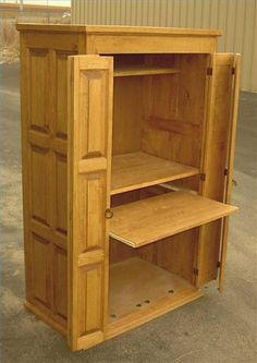 An armoire is a beautiful piece of furniture that can enhance any room of the house. Building one for your computer out of the wood of your choice will give it that special touch. Home Office Storage, Home Office Desks, Home Office Furniture, Furniture Projects, Diy Furniture, Computer Armoire, Desk Cabinet, Office Cabinets, Cabinet Design