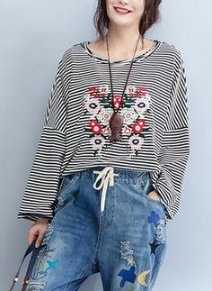 Camisetas Floral de Algodão Em torno do pescoço Manga comprida