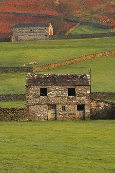 abandoned stone barn and stone walls