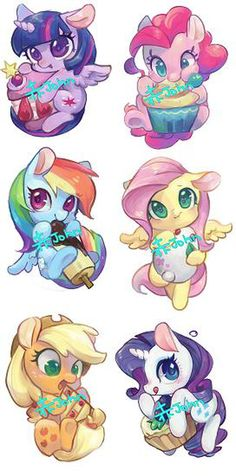 My Little Pony w/ desserts really cute Dessin My Little Pony, Mlp My Little Pony, My Little Pony Friendship, My Little Pony Tattoo, My Little Pony Drawing, Imagenes My Little Pony, Little Poni, Mlp Pony, Fluttershy