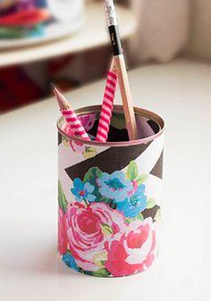 DIY Floral Print Pencil Case.
