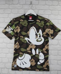Addict Bloc 28 Disney Mad Mickey Mouse Camo Forest Crew Neck Tee T-Shirt