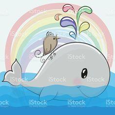 Cute cartoon whale and a bird vetor e ilustração royalty-free royalty-free