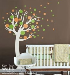 Kids Wall decal Polka Dots Circles Tree- Nursery Vinyl Wall Decal sticker baby room art decor. $79.00, via Etsy.