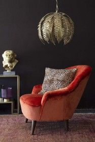 Vintage Style Velvet Pinta Cocktail Chair In Loriano Orange