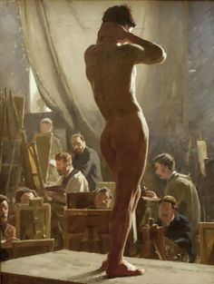 Laurits Tuxen (Danish painter) 1853 - 1927 Male Nude in the Studio of Bonnat, 1877 oil on canvas x x 8 cm. Statens Museum for Kunst, Copenhagen, Denmark Artist Painting, Figure Painting, Figure Drawing, Painting & Drawing, Art And Illustration, Illustrations, Beauty In Art, Male Beauty, Art Beauté