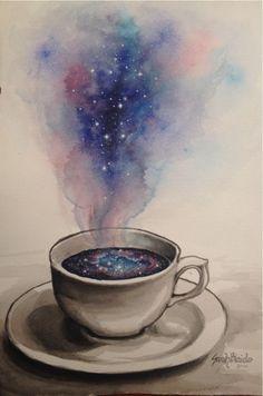 art, galaxy, and coffee image