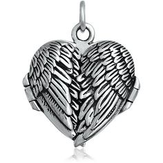 Bling Jewelry Heavenly Wing Locket featuring polyvore, fashion, jewelry, necklaces, accessories, grey, locket-necklaces, necklaces pendants, locket charms, sterling silver pendant, sterling silver jewelry, heart charms and charm jewelry