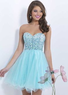 Aqua Ruffled Tulle Homecoming Dress On Sale With Sparkly Top