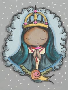 PEQUENA NOSSA SENHORA Cartoon Pics, Cartoon Drawings, Arte Ganesha, Madonna, Catholic Wallpaper, Mama Mary, Christian Wallpaper, Kawaii, Holy Mary
