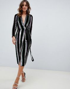 e95589eb0c07 DESIGN wrap midi dress in velvet stripe sequin