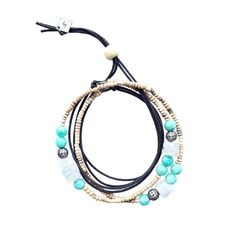 / tiny clay beads from Africa  / high-grade moonstone rondelles  / high-grade Brazilian amazonite  / oxidized cubic zicronia pave beads  / cotton chord with adjustable closure  / can be worn as necklace or wrapped as a bracelet  / handmade by VELINA