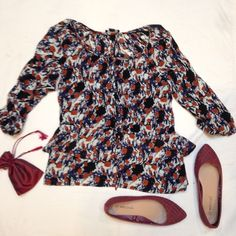 Abstract Print 3/4 Sleeve Top Forever 21 top, with decorative buttons down the front and a layered ruffle hem. Forever 21 Tops Blouses
