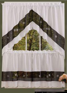 Ashley curtains feature a crisp black & white contrast design and scalloped edges.   #Complete #Kitchen #Sets